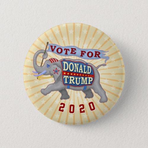 Donald Trump President 2020 Republican Elephant Button