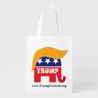 Donald Trump Republican Elephant Hair Logo Grocery Bag