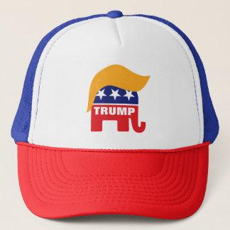 Donald Trump Republican Elephant Hair Logo Trucker Hat