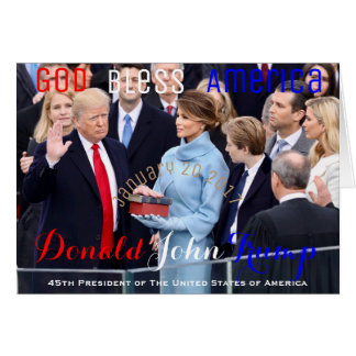 Donald Trump taking his Oath of Office January 20 Card