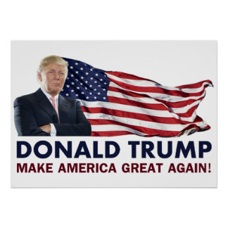 Donald Trump US Flag Poster