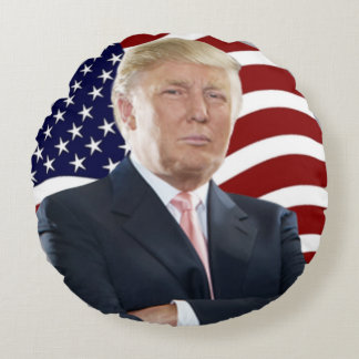 Donald Trump US Flag Round Pillow