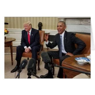 Donald Trump with Barack Obama Card