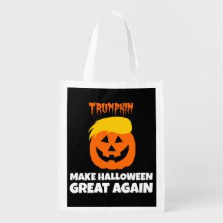 Donald Trumpkin Make Halloween Great Again Grocery Bags