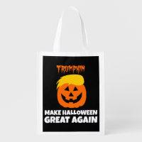 Donald Trumpkin Make Halloween Great Again Reusable Grocery Bag
