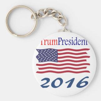 Donald TrumPresident waving flag Keychain