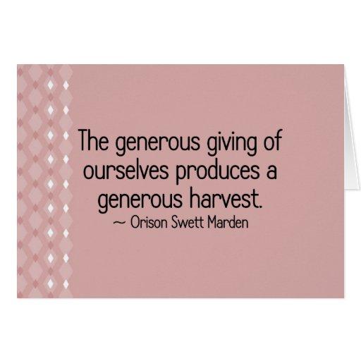 Donante abundante de nosotros mismos tarjeta pequeña