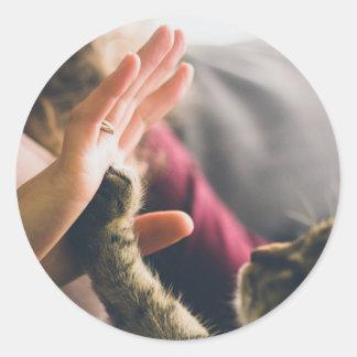 Donante de la pata del gato Alto-cinco Pegatina Redonda