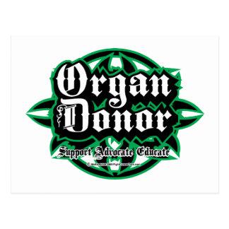 Donante de órganos tribal tarjetas postales