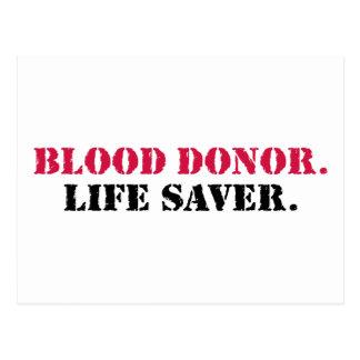 Donante de sangre. Ahorrador de vida Postal