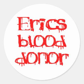 Donante de sangre de Erics Pegatinas Redondas
