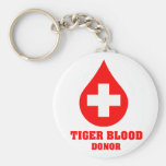 Donante de sangre del tigre llavero redondo tipo pin