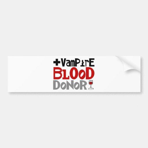 Donante de sangre del vampiro pegatina de parachoque