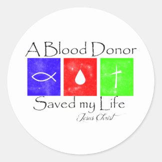Donante de sangre pegatina redonda
