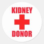 Donante del riñón pegatina redonda