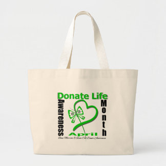 Donate Life Butterfly - Bone Marrow and Stem Cell Large Tote Bag