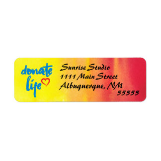 Donate Life with red and yellow watercolor Label