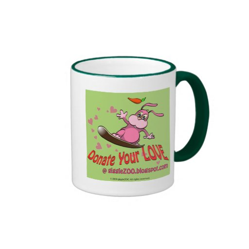 Donate Your Love with Valentine Bunnie Ringer Coffee Mug