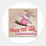 Donate Your Love with Valentine Bunnie Classic Round Sticker