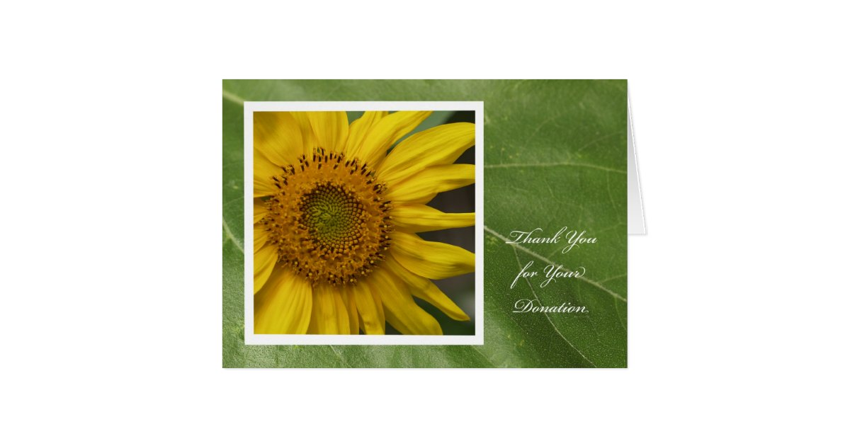donation thank you card  sunflower thank you  zazzle