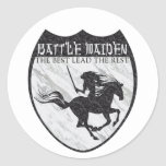 Doncella de la batalla etiqueta redonda