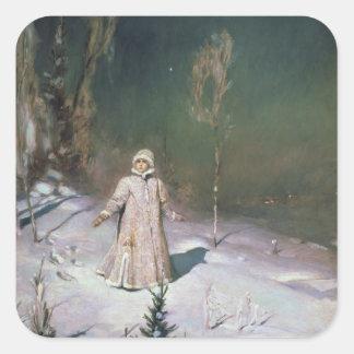 Doncella de la nieve, 1899 pegatina cuadrada