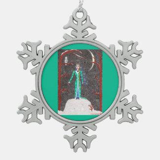 Doncella de la nieve adorno de peltre en forma de copo de nieve