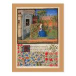 Doncella en el jardín postal