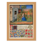Doncella en el jardín postales