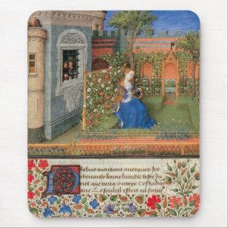 Doncella medieval en rosaleda del patio tapetes de raton