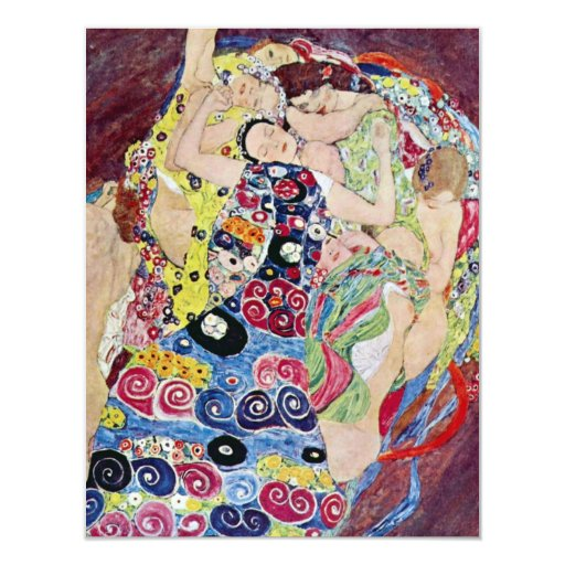 Doncella (Virgen), Gustavo Klimt, arte Nouveau del Invitación 10,8 X 13,9 Cm