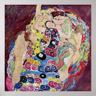 Doncella (Virgen), Gustavo Klimt, arte Nouveau del Póster