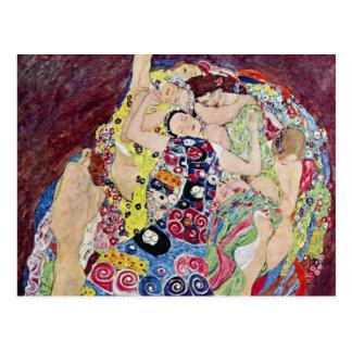 Doncella (Virgen), Gustavo Klimt, arte Nouveau del Tarjeta Postal