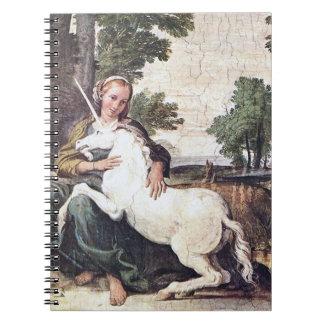 Doncella y cuaderno del unicornio, fresco por Dome