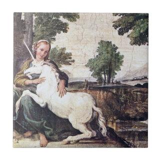 Doncella y teja del unicornio por Domenichino circ