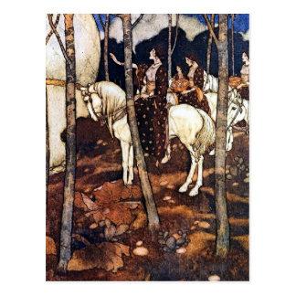 Doncellas en la postal de la vertical de los cabal