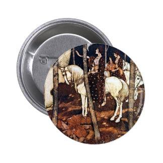 Doncellas en los botones de los caballos blancos pin