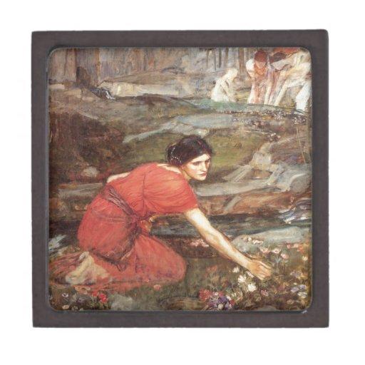 Doncellas que escogen las flores de John William Caja De Regalo De Calidad