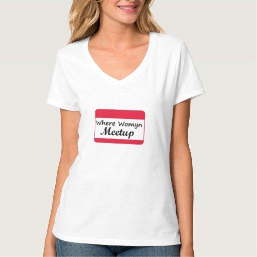 Donde blanco con cuello de pico de la camiseta de playera