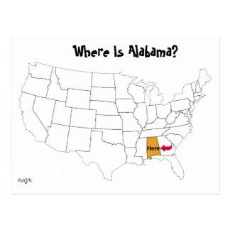 ¿Dónde está Alabama? Postal