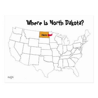 ¿Dónde está Dakota del Norte? Tarjeta Postal