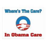 ¿Dónde está el cuidado? En el cuidado de Obama Postales