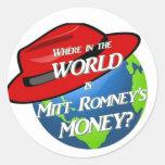 Donde está el dinero del mitón pegatina redonda