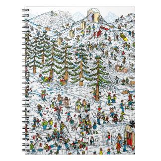 Donde está el esquí de Waldo se inclina Libro De Apuntes Con Espiral