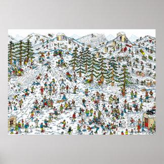 Donde está el esquí de Waldo se inclina Póster