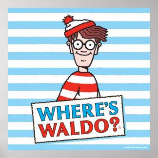 Donde está el logotipo de Waldo Póster