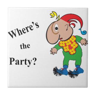 Donde está el Party.ai Azulejo Cuadrado Pequeño