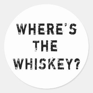Donde está el whisky pegatina redonda