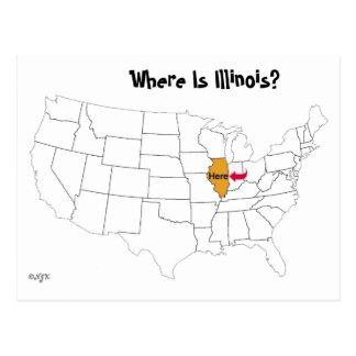 ¿Dónde está Illinois? Tarjeta Postal
