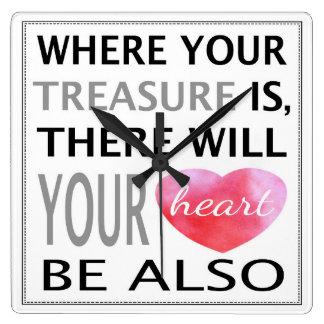 Donde está inspirado su tesoro cite el rosa reloj cuadrado